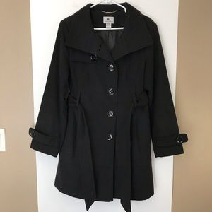 Worthington Double Breasted Dress Pea Coat w Tie